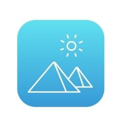 Egyptian pyramids line icon vector image