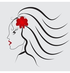 Girl with red flower and red lips vector