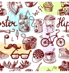 Hipster seamless vector image vector image