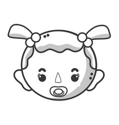 line baby girl head with pacifier and hairstyle vector image