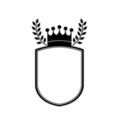 monochrome shield with crown and olive branchs vector image vector image