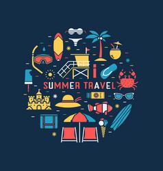 Summer travel concept circle vector