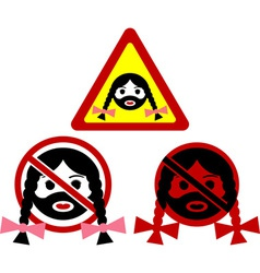 warning signs of bearded woman vector image