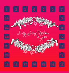 christmas advent calendar with garland toys vector image vector image