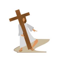 jesus christ meet virgin mary - via crucis station vector image