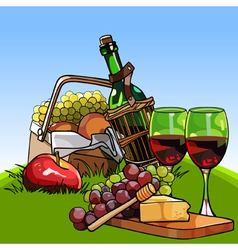 picnic basket with fruit and a bottle of wine vector image