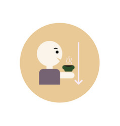stylish icon in color circle man drinking hot vector image vector image