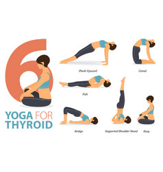 6 yoga poses for thyroid concept vector image