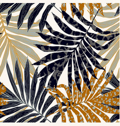 Abstract palm leaves filled with animal print vector
