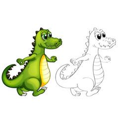 Animal outline for alligator walking vector