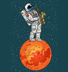 astronaut plays saxophone on mars vector image