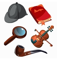 Attributes of professional detective Five items vector image