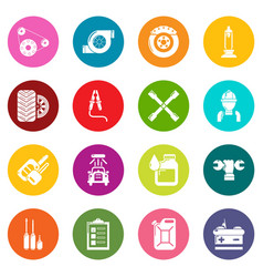 Auto repair icons set colorful circles vector