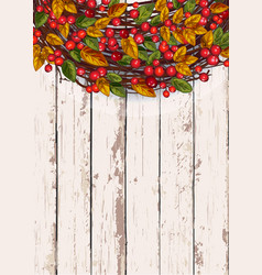 Autumn wreath on a wooden background thanksgiving vector