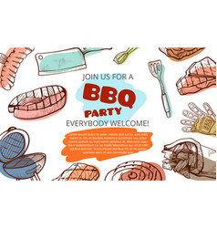 barbecue party food and tools banner with vector image