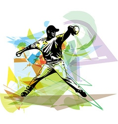 Baseball player playing vector