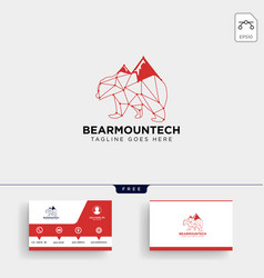 Bear mountain technology logo template vector