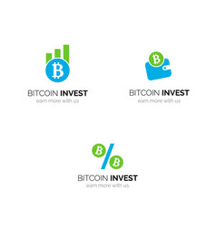 Bitcoin investment company logo design vector