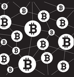 blockchain structure and bitcoin icon outline vector image