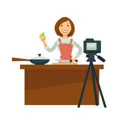 Blogger or vlogger woman shoot cooking vector