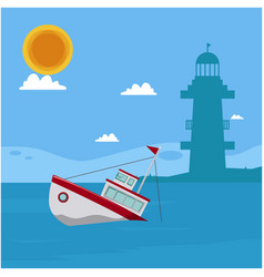 blue sea boat lighthouse sun cloud background vect vector image