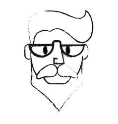 blurred silhouette front face caricature old man vector image