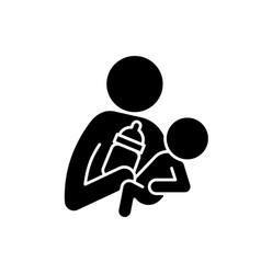Bottle feeding black glyph icon vector