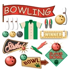 Bowling equipment set flat icons collection vector