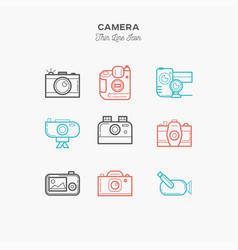 camera video camera and more thin line color vector image