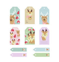 christmas tags cute collection set of labels with vector image