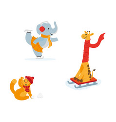 cute elephant giraffe cat having fun in winter vector image