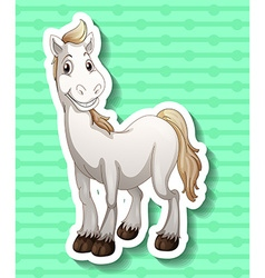 Cute white horse smiling vector