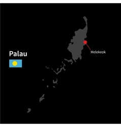 Detailed map of Palau and capital city Melekeok vector
