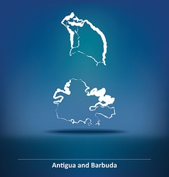 Doodle Map of Antigua and Barbuda vector image