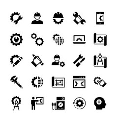 Engineering and manufacturing icon set in flat vector