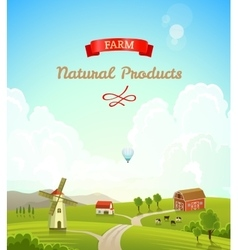 Farm rural landscape Farm background vector image