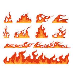 fire flame cartoon bonfire and fiery borders vector image