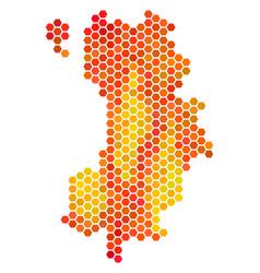 Fire hexagon koh tao thai island map vector