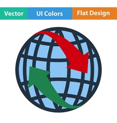 Flat design icon of Globe with arrows vector image