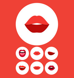 Flat icon lips set of mouth teeth kiss and other vector
