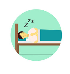 Flat young man wear night suit sleep with pillow vector