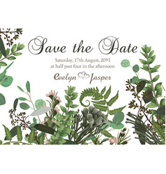 Flower card wedding invitation with green vector