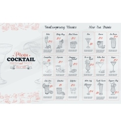Front Drawing horisontal cocktail menu design vector