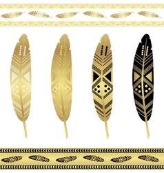 Gold flash tattoo ethnic seamless patterns vector