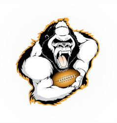 Gorilla with the ball for american football vector