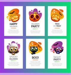 halloween greeting cards vibrant light set vector image