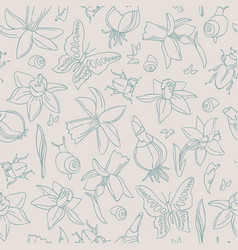 hand-drawn flowers seamless pattern vector image vector image