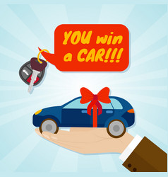 hand giving car with red ribbon and key rental or vector image
