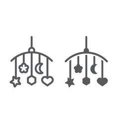 hanging toys line and glyph icon child and bed vector image
