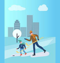 Hockey training of man and child father and son vector